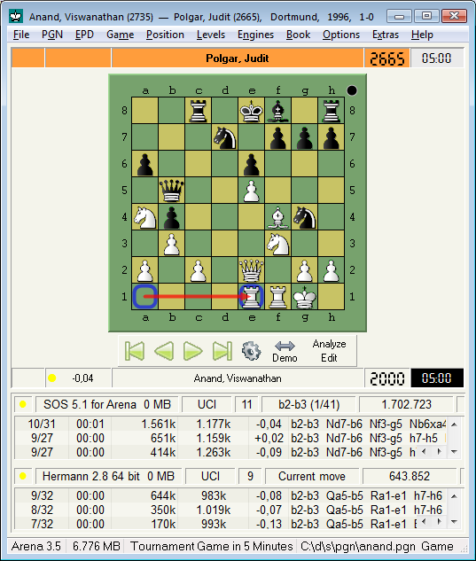 Arena Chess GUI for Linux and Windows - Screenshots